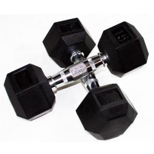 60Lb Troy USA 6 Sided Rubber Dumbbell - HD-060R