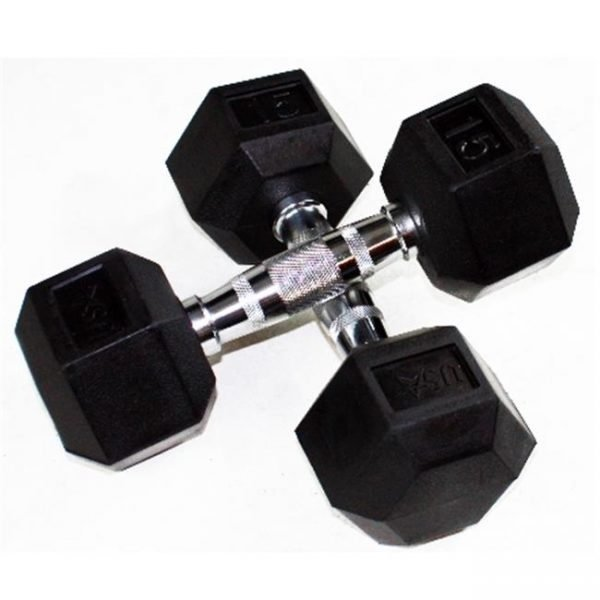 65Lb Troy USA 6 Sided Rubber Dumbbell - HD-065R