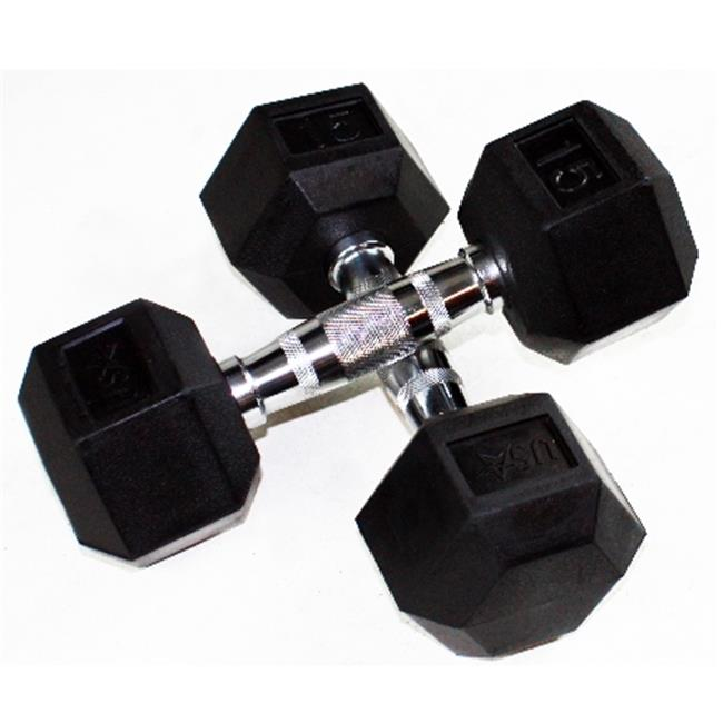 15Lb Troy USA 6 Side Rubber Dumbbell - HD-015R