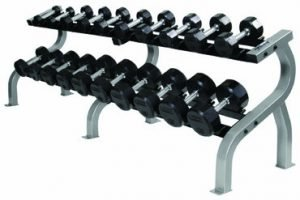 Troy Saddle Rack with 10 Pair Rubber Commercial Dumbbells - COMMPAC-TSDR50