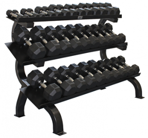 5lb to 75lb Horizontal 3 Tier Shelf Rack Troy VTX Dumbbell Set (5lb Incr.) - VERTPAC-SDU75