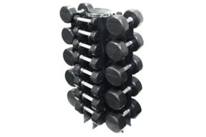 Troy 4 Sided Vert Rack with 13 Pair Rubber Dumbbells - VERTPAC-TSDR50G