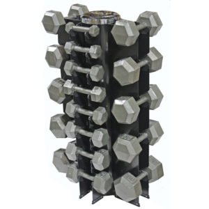 Troy USA 4 Sided Vert Rack with 13 Pair Hex Cast Dumbbells - VERTPAC-IHD50G