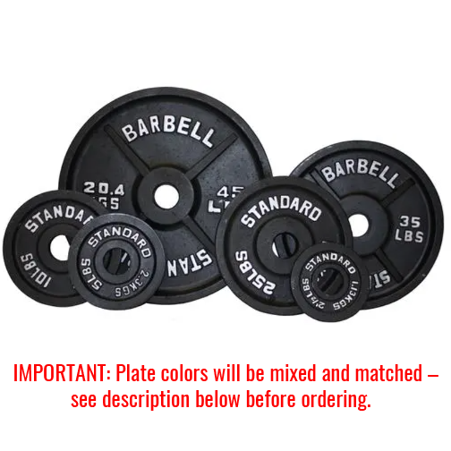 300Lb  Troy USA Black Olympic Weight Plate Set with 7ft Bar - BOSS-300