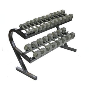 Troy USA 10 Pair Rail Rack with Hex Cast Dumbbells - VERTPAC-IHD50