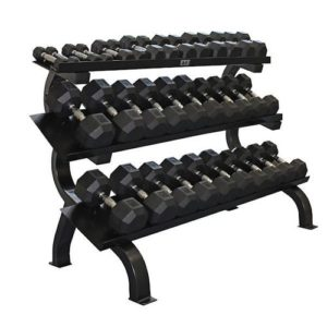 Troy VTX 3 Tier Shelf Rack with 15 Pair Rubber Dumbbells - VERTPAC-SDR75
