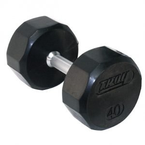 95Lb Troy 12 Sided Rubber Coated Dumbbell - TSD-095R